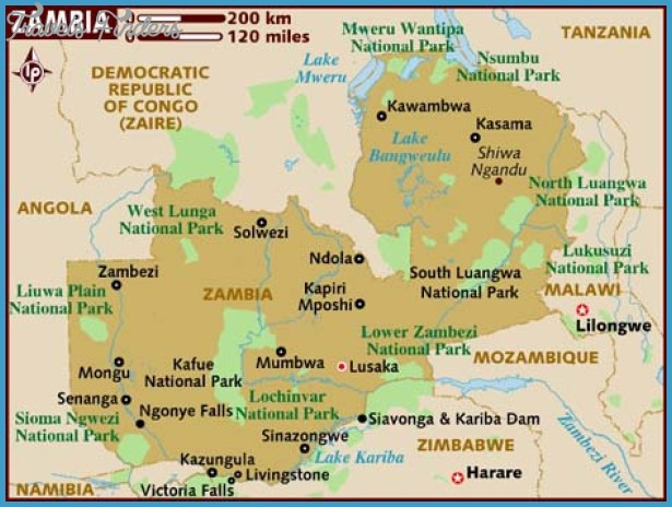 Zambia Map Tourist Attractions TravelsFindersCom
