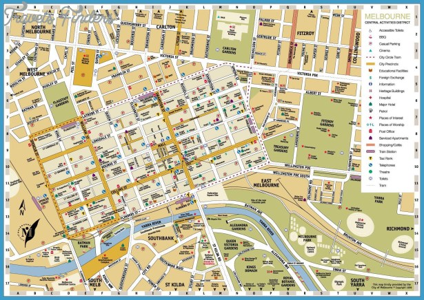 Melbourne Map Tourist Attractions – Australia Tourist Attractions Map