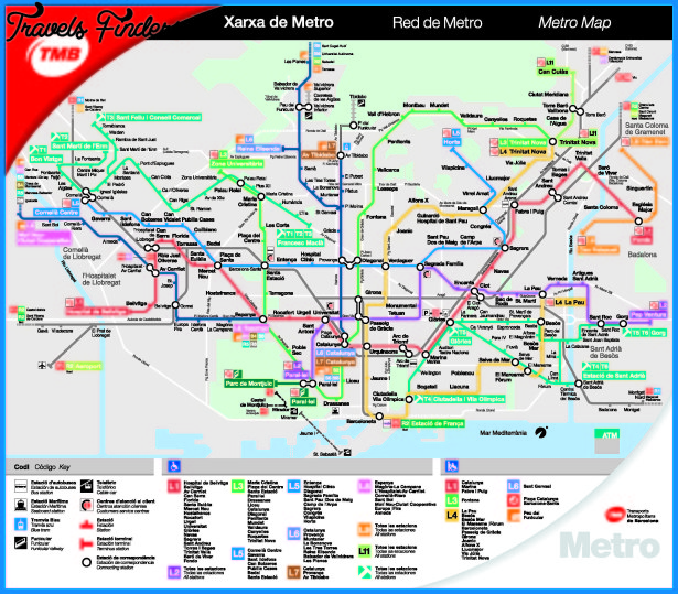 Barcelona Subway Map Travelsfinders Com