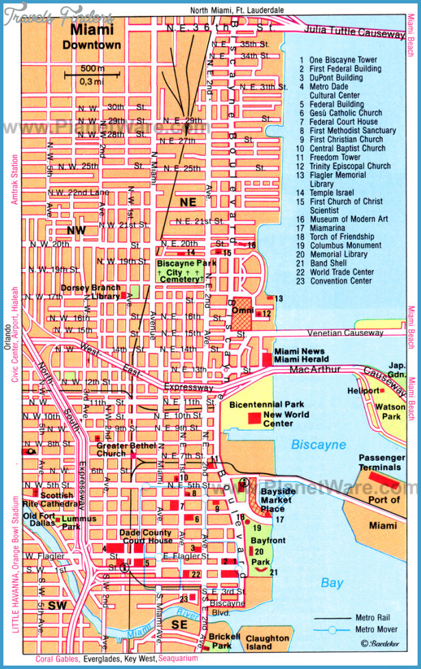 Miami Map Tourist Attractions TravelsFindersCom