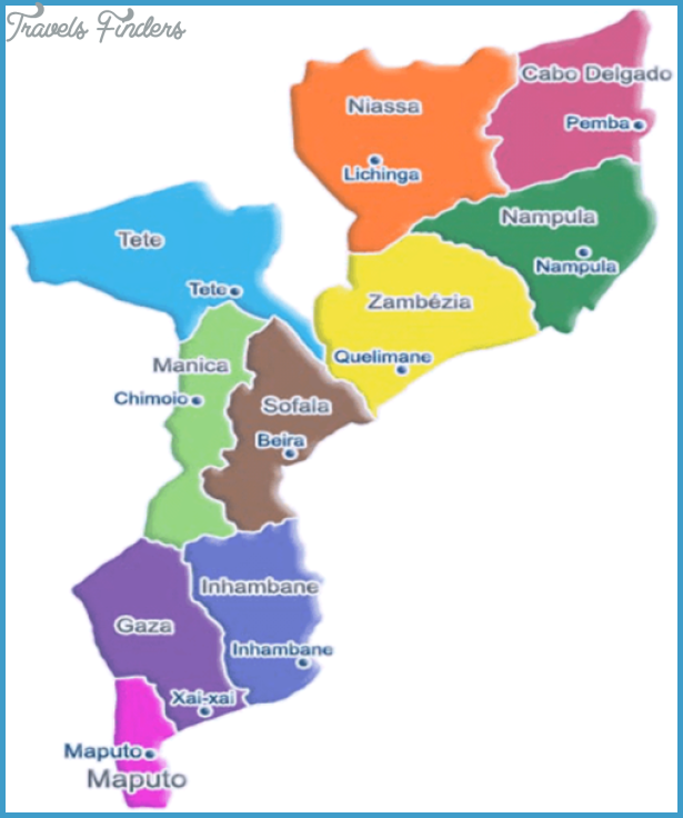 Mozambique Political Map - mozambique  mappery