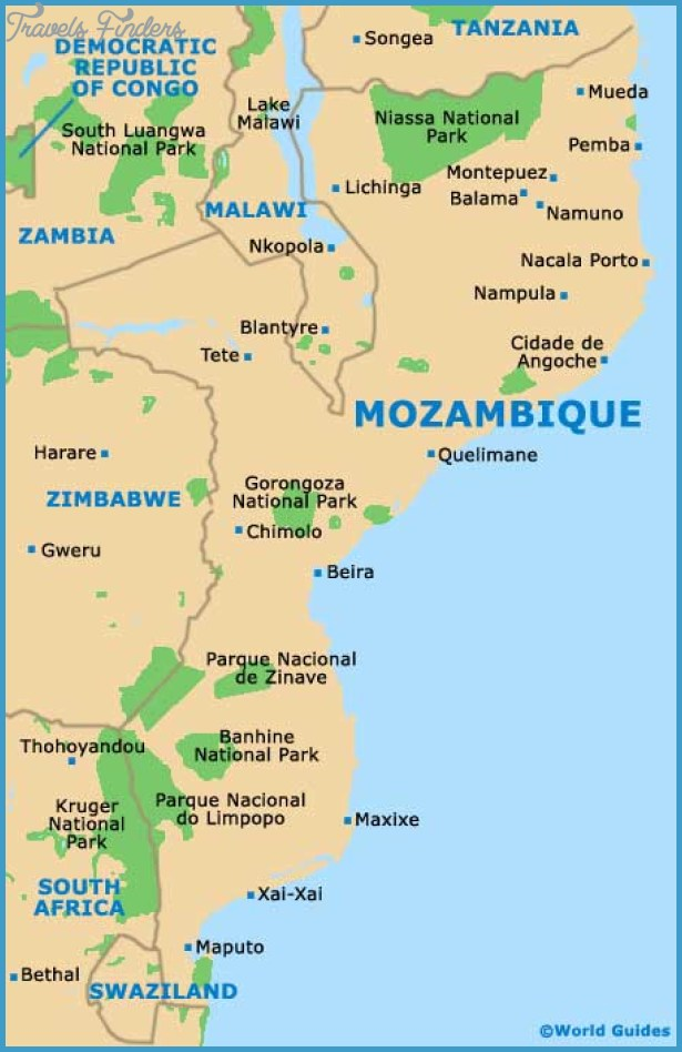 Mozambique Map Tourist Attractions TravelsFindersCom