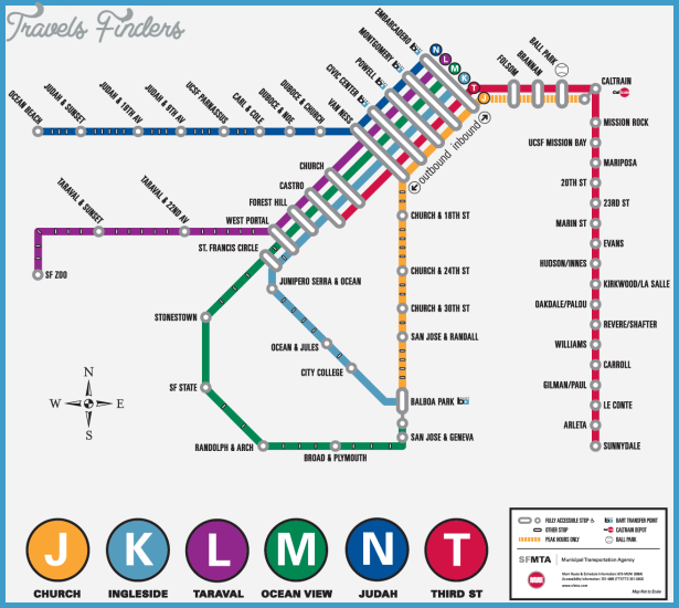 San Francisco Metro Map TravelsFindersCom - San francisco rail map
