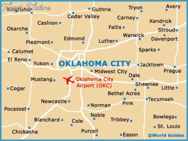 Oklahoma City Map Travel Map Vacations TravelsFindersCom - Oklahoma map usa