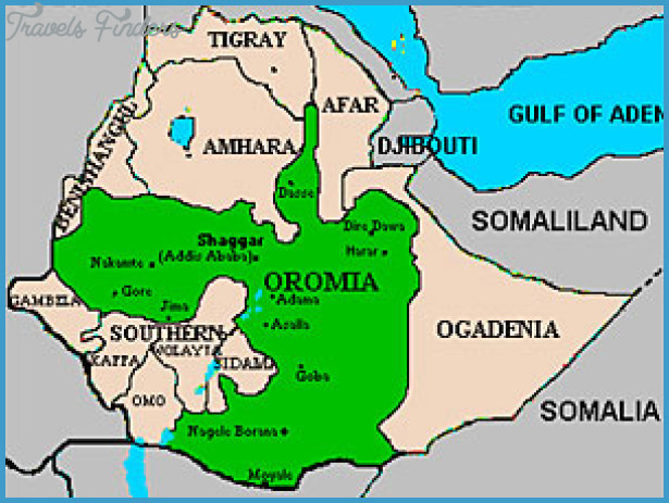 Ethiopia, including the capital Addis Ababa. (Map courtesy of Oromian