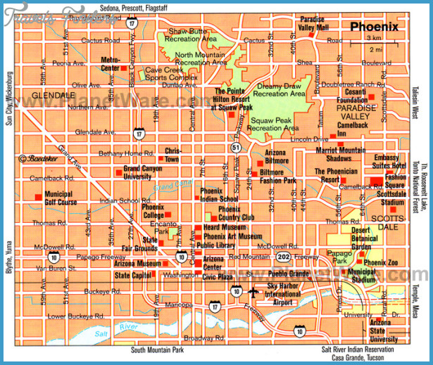 Phoenix Map Tourist Attractions  Travel  Map  Vacations