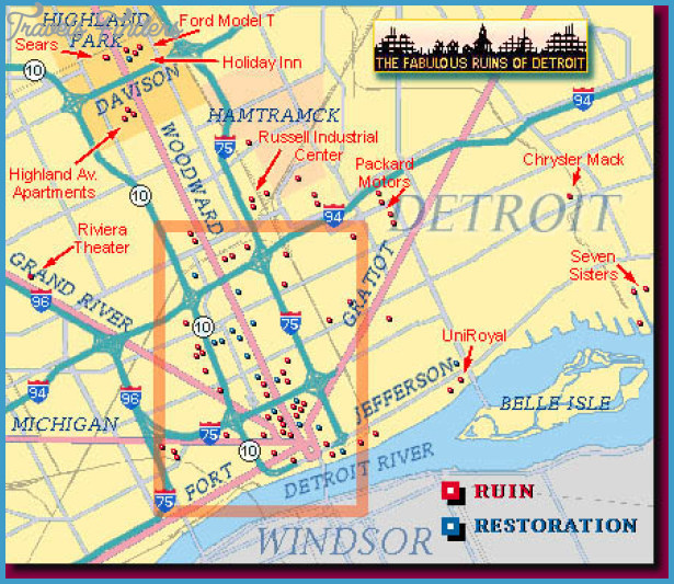 Detroit Map Tourist Attractions  Travel  Map  Vacations