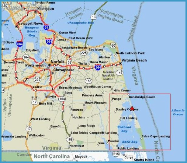 Virginia Beach Map TravelsFindersCom