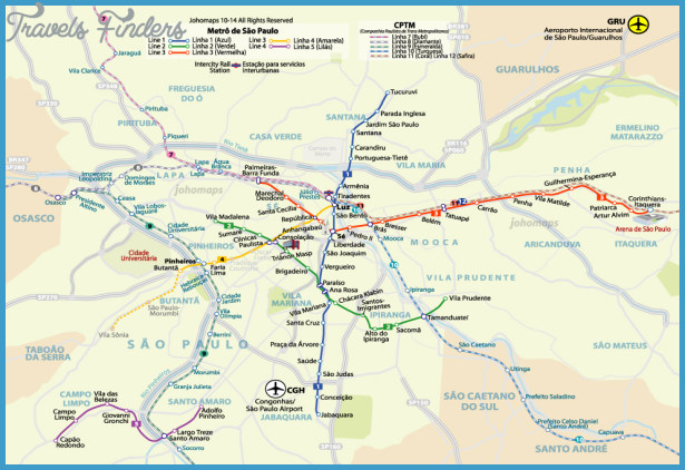 Sao Paulo Metro Map TravelsFindersCom