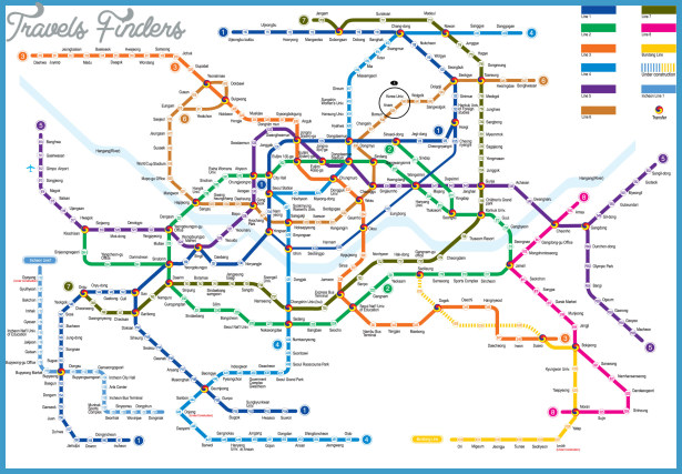 Eoul Subway Map.Korea South Metro Map Travelsfinders Com