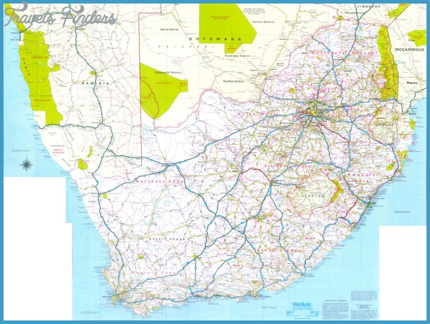 Road Map Of South Africa