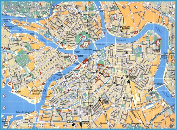 St Petersburg Map Tourist Attractions TravelsFindersCom