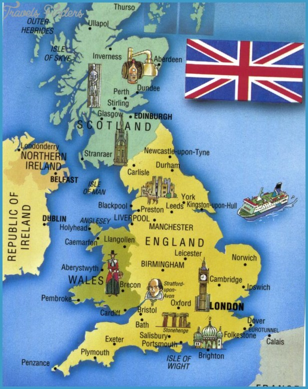 United Kingdom Map Tourist Attractions TravelsFindersCom