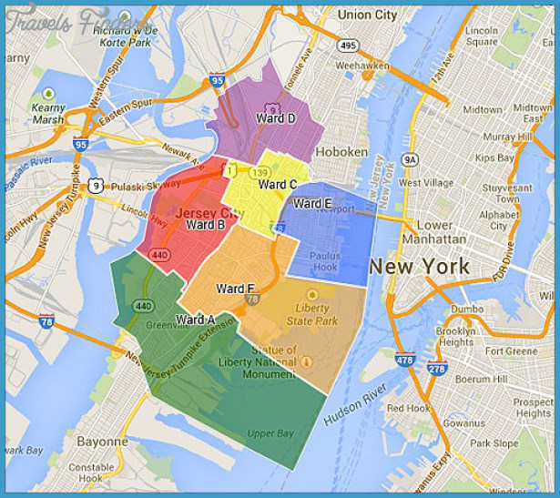 Jersey City Ward Map Jersey City Map   TravelsFinders.®