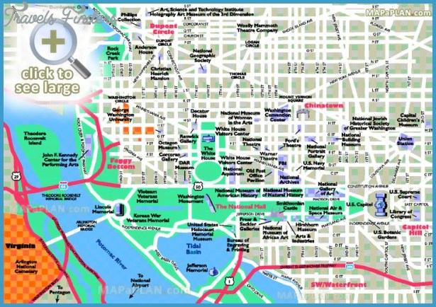 graphic about Printable Street Map of Washington Dc identify Washington Map Vacationer Sights - TravelsFinders.Com ®