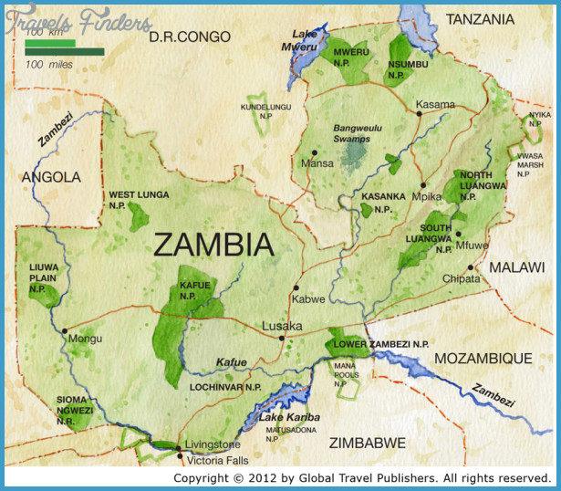 Zambia Map TravelsFindersCom