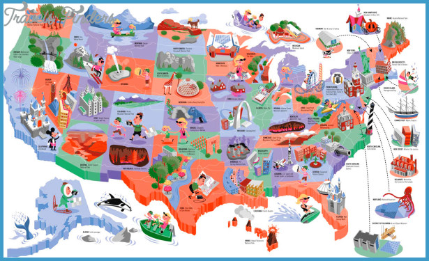 United states map tourist attractions travelsfinders com for Best places to visit for christmas in usa
