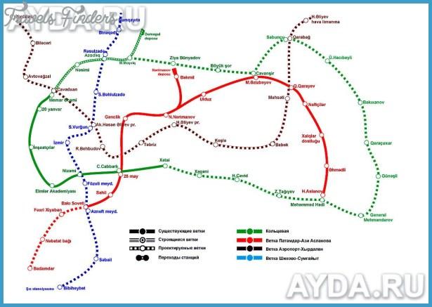 Azerbaijan Metro Map TravelsFindersCom