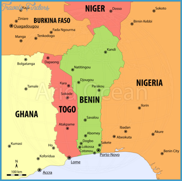 Benin Map Travel Map Vacations TravelsFindersCom - Benin map