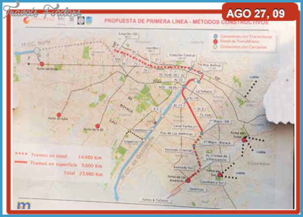 Bogota subway map travelsfinders com for Subway colombia