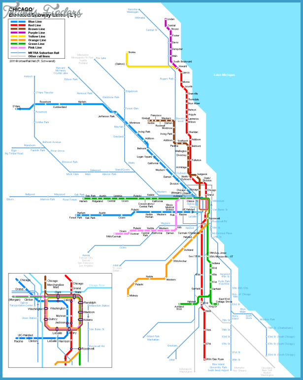 Chicago Metro Map Travel Map Vacations TravelsFindersCom