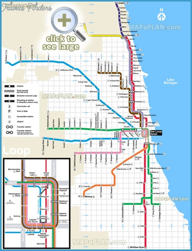 Chicago Metro Map – Chicago Tourist Attractions Map