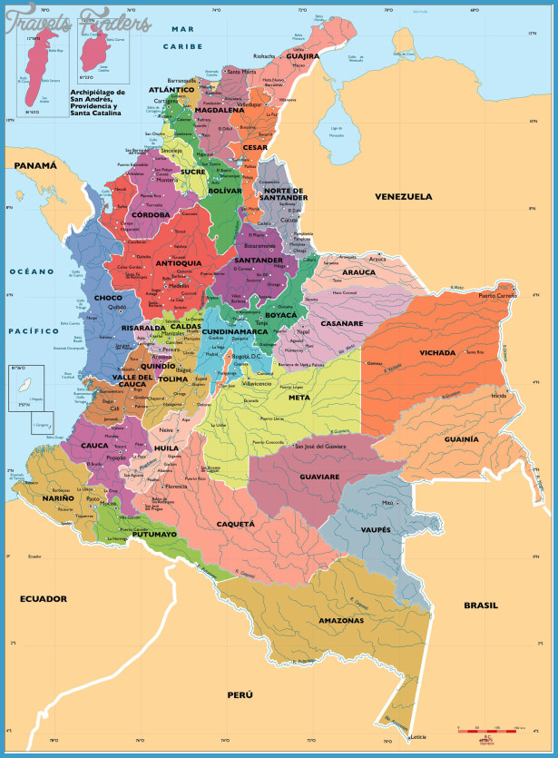 Colombia Map Travel Map Vacations TravelsFindersCom - Colombia map