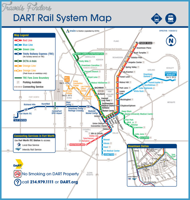 Dallas Subway Map - TravelsFinders.Com ® on