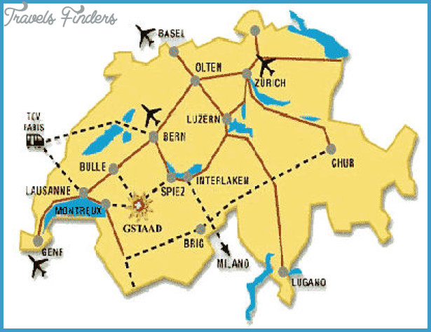 Switzerland Map Tourist Attractions TravelsFindersCom