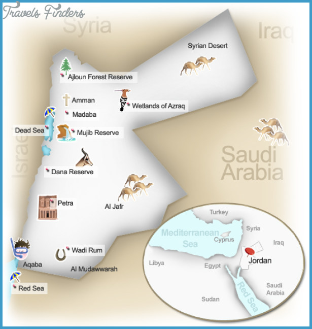 Jordan Map Tourist Attractions  Travel  Map  Vacations