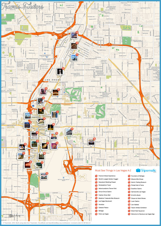 Las Vegas Map Tourist Attractions Travel Map Vacations - Las vegas blvd map