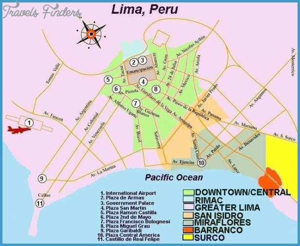 Lima Map Tourist Attractions 0jpg TravelsFindersCom