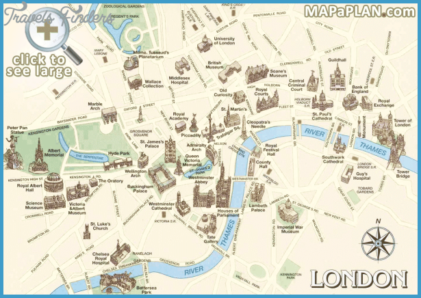London Map Attractions.London Map Tourist Attractions Travelsfinders Com