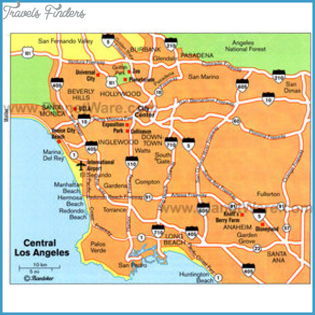 Los Angeles Map Tourist Attractions TravelsFindersCom