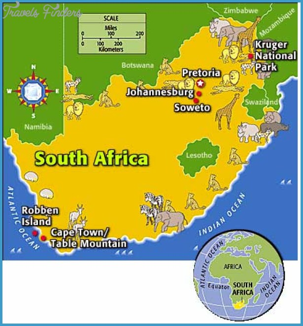 South Africa Map Tourist Attractions TravelsFindersCom