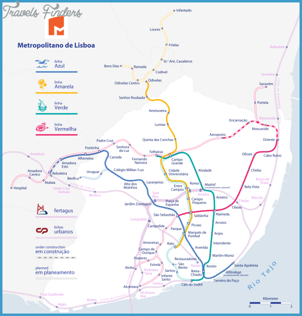 Portugal Subway Map Travel Map Vacations TravelsFindersCom - Portugal map metro