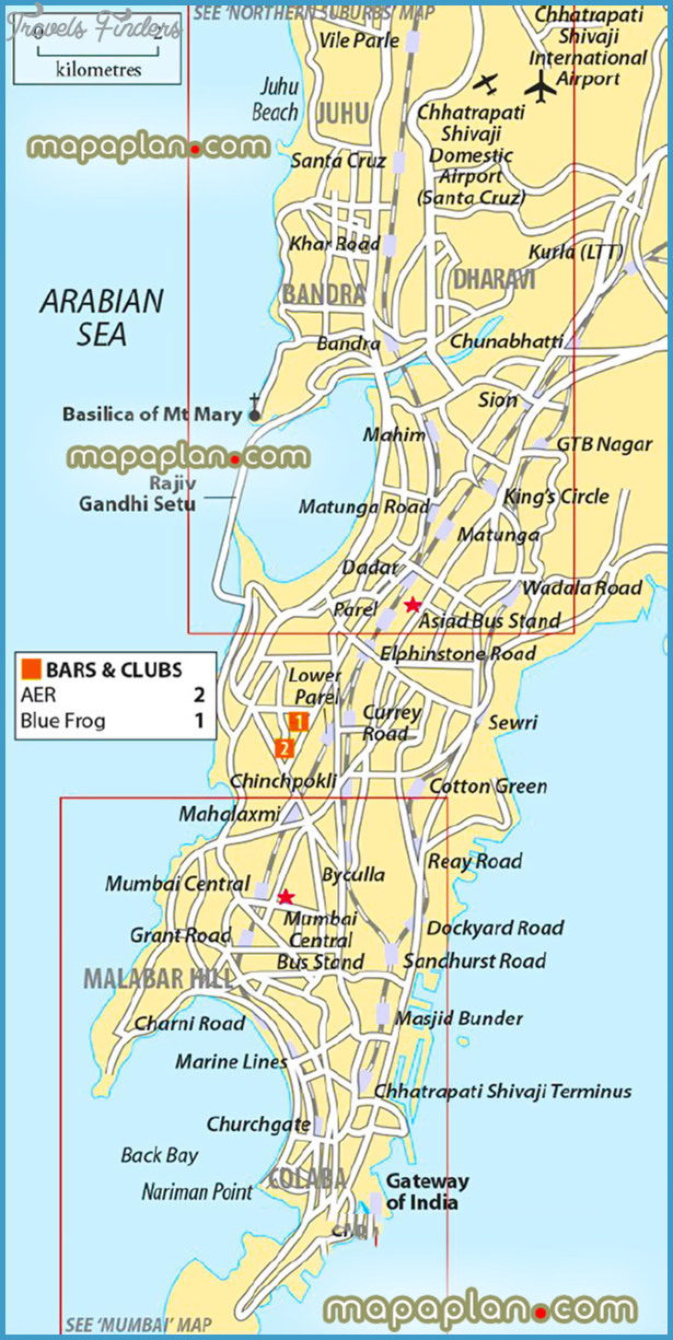 Mumbai Map Tourist Attractions TravelsFindersCom