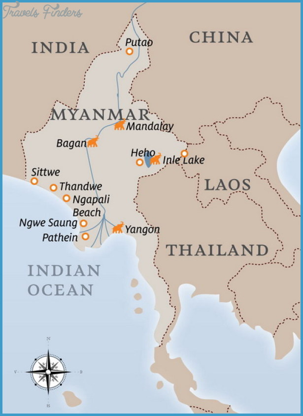 Burma Map Tourist Attractions – Burma Tourist Map