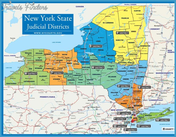 New York Map With Districts  Travel  Map  Vacations