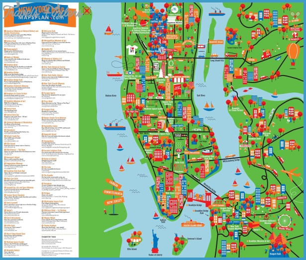 New york map with tourist attractions travelsfinders com for Attractions for new york