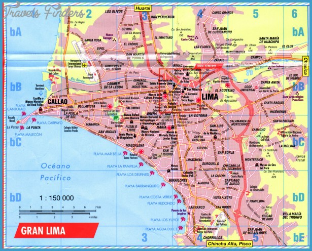 Lima Map Tourist Attractions TravelsFindersCom
