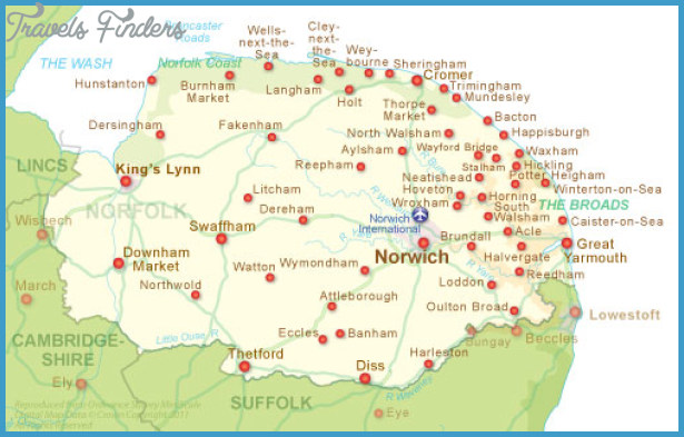 Norfolk Map Tourist Attractions TravelsFindersCom