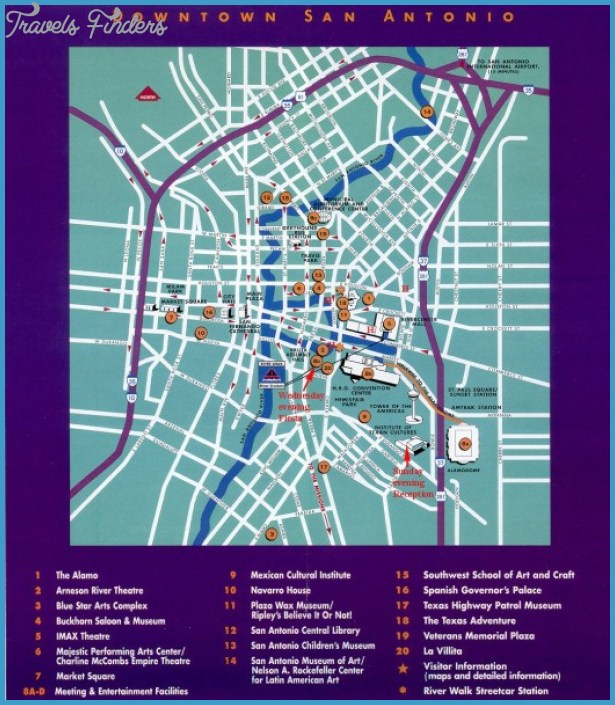San Antonio Map Tourist Attractions TravelsFindersCom