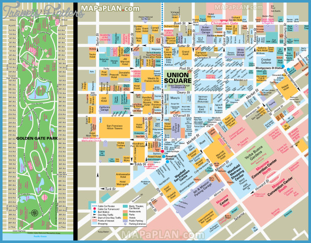 San FranciscoOakland Map Tourist Attractions – San Francisco Tourist Attractions Map