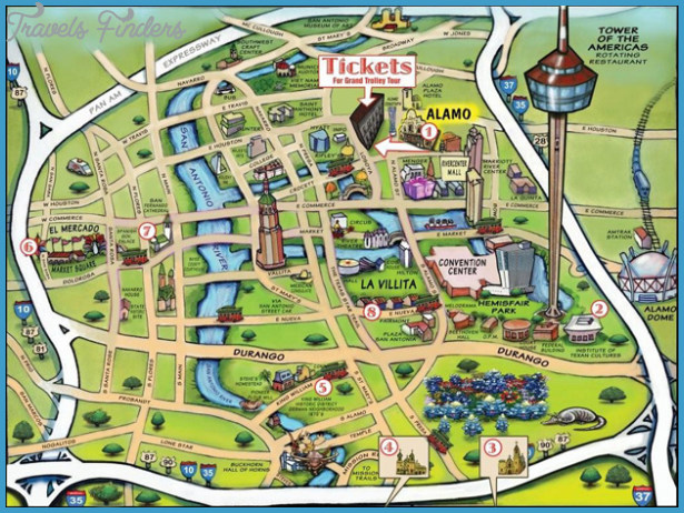 san antonio map attractions San Antonio Map Tourist Attractions Travelsfinders Com san antonio map attractions