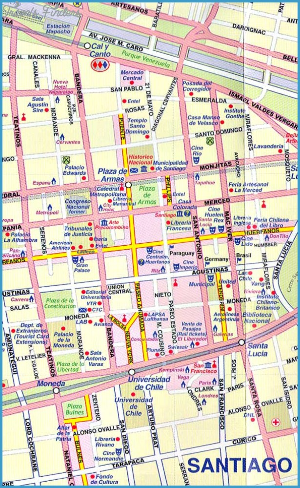 Santiago Map Tourist Attractions Travelsfinders Com