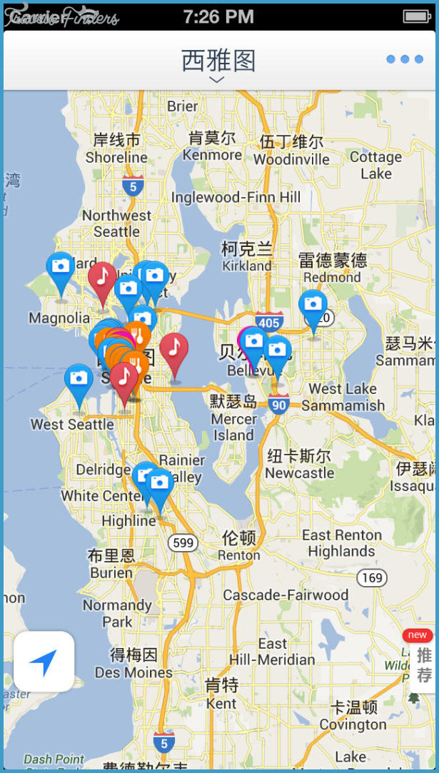 Seattle Map Tourist Attractions - TravelsFinders.Com