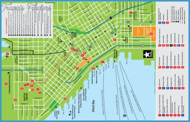 Seattle Map Tourist Attractions TravelsFindersCom