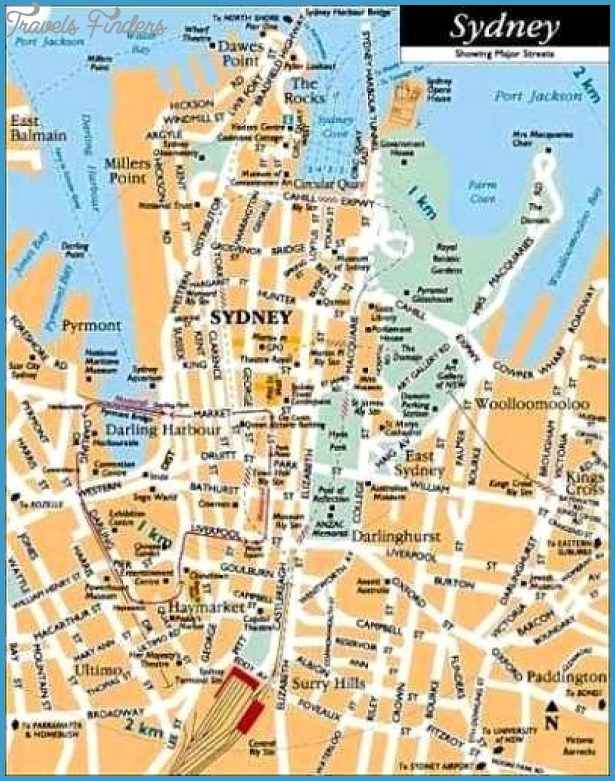 Sydney Map Tourist Attractions TravelsFindersCom