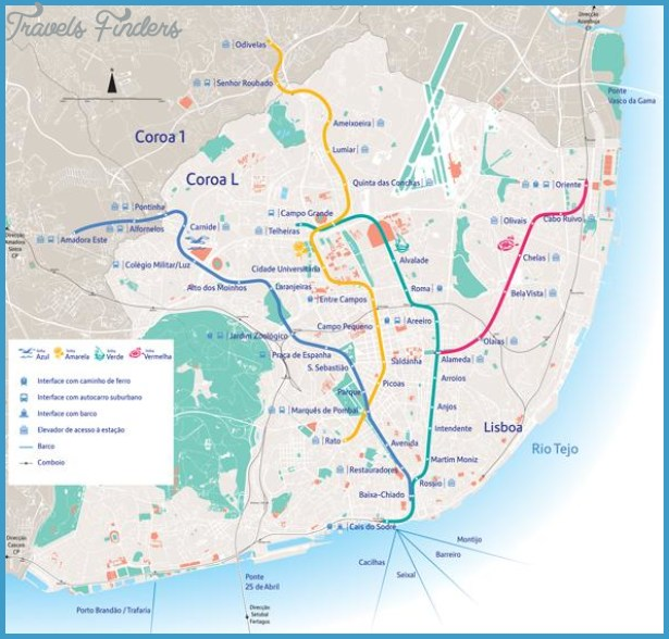 Lisbon Subway Map Travel Map Vacations TravelsFindersCom - Portugal underground map